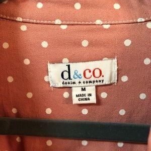 Pink and White Polka Dot Denim Jacket